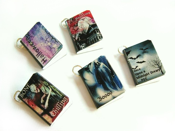 Halloween Spooky Creepy Miniature Book Charms Set of all 5