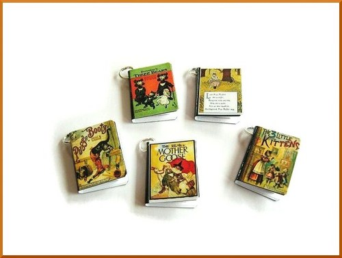 Old Nursery Rhymes Miniature Book Charms Set of 5