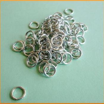 100 Aluminum Jump Rings 16 Gauge 8mm Open Lightweight Shiny Silver Tone