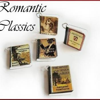 Set of 5 Romantic Classic Inspired Mini Book Charms