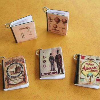 Steampunk Victorian Inspired Miniature Book Charms Set of all 5